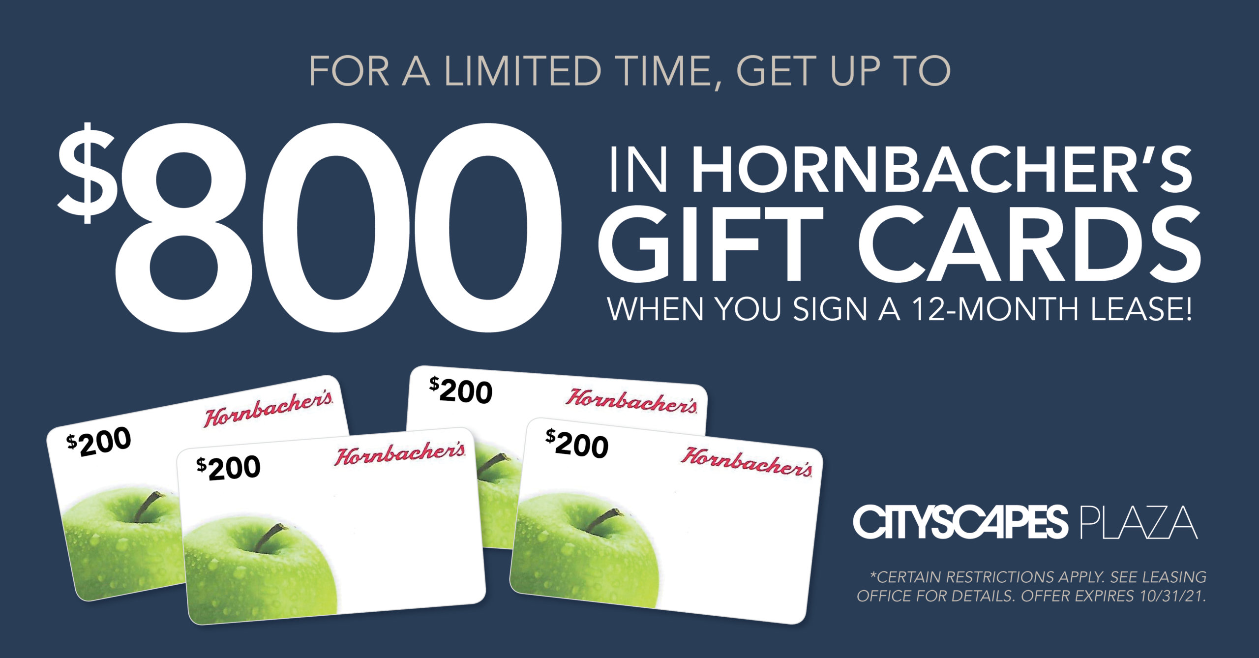 Get up to $800 in Hornbacher's Gift Cards! Certain restrictions apply.